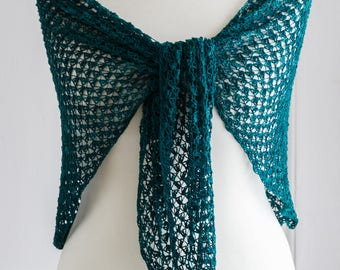 Crochet silk shawl, made with a hand dyed pure mulberry silk in a rich jewelled green, one of a kind shade called, 'Pestled Emerald'