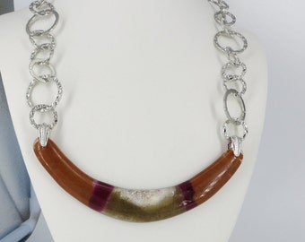 Handmade Fused Glass Dichroic Bib Pendant