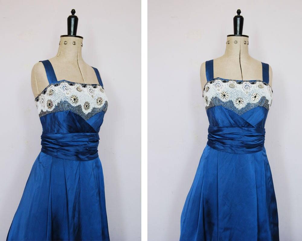 Jahrgang 1950 s blau Satin Ballkleid 50er Jahre Kleid 50er