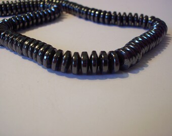 Set of 20 beads 8 mm x 3 mm gunmetal hematite saucers
