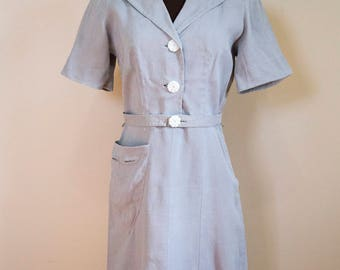 40s 50s Eisenberg Originals Gray Linen Day Dress Size Medium