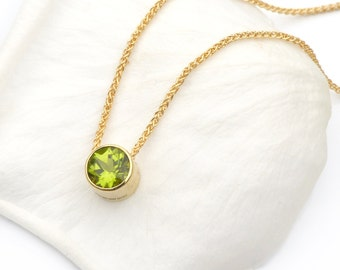 Peridot Necklace in 18k Gold, August Birthstone, Fair Trade Stone, Handmade in the UK