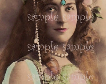 VINTAGE photo instant DIGITAL DOWNLOAD Victorian beautiful girl Paris French Post Card Bohemian Boho Gypsy PrincessShabby Chic