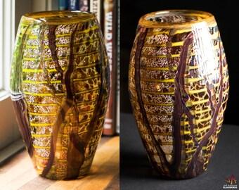 Hand Blown Glass Earthy Multicolor Pod Vase