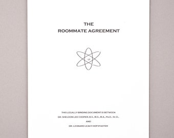 The Roommate Agreement inspired by the Big Bang Theory