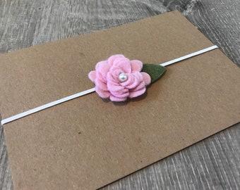 Small rosette felt flower infant headband, baby shower gift, new baby, baby girl, newborn headband