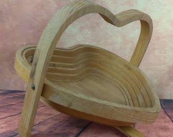 Danish Modern Collapsible Blonde Wood Basket//Heart Shape//Fruit Basket//Wood Gift Basket//Hide-a-Way//Portable Folding Basket/Valentine