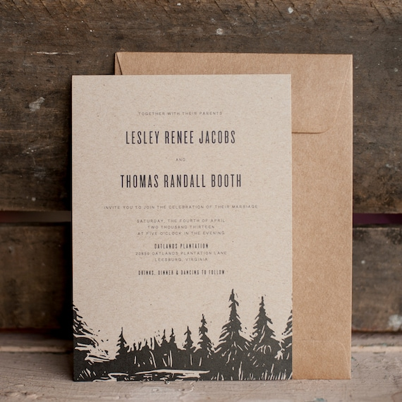 Rustic Wedding Invitation, Tree Wedding Invitation, Wedding Invitation, kraft wedding invitation, trees, eco friendly, invite - The Oatlands