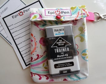 Epi Pen or Inhaler Pouch for Auvi Q Meds or Inhaler Easy View Clear Front W/ Clip 4x5 Holds 2 Injectors or 1 Puffer - Shabby Chic Paisley
