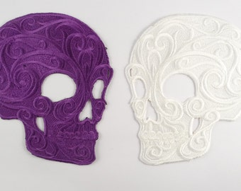 Embroidered Skull Motif / Patch / Badge / Applique - Lots of Colour Choices inc BLACK :)