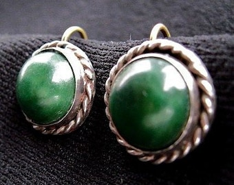 Vintage Silver and Mexican Jade Screw-Back Earrings