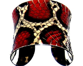 Black, Red, and Ivory Snakeskin Cuff Bracelet - by UNEARTHED