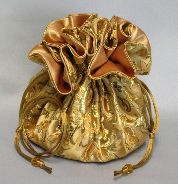 Jewelry Travel Tote---Elegant Gold Floral Design---Satin Brocade Drawstring Organizer---Large Size