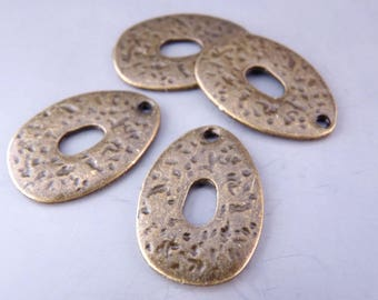 4 charm pendants drop hammered 20 x 14 mm - bronze