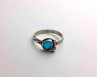 RARE Aqua Sea Glass Sterling Silver Ring