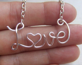 Love Necklace, Personalized Up to 10 Letters, Inspirational Wire Word Necklace, Custom Word Jewelry