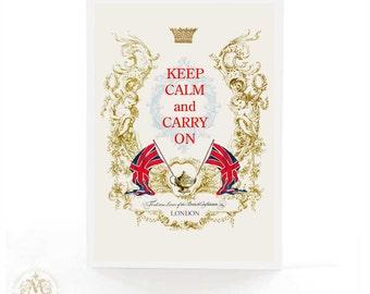 Keep calm and carry on card, Union Jack, London, British, birthday card, tea card, blank inside, all occasion card