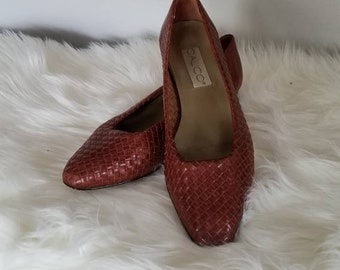 Calico Woven Low Heels, Woven Shoes, 8.5