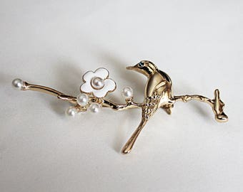 Alloy Bird Brooch with Plum Blossom/Chinese painting