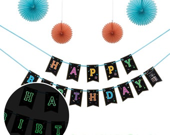 Glow In The Dark  Happy Birthday Banner With 4 Fans ,Glowing Bunting , Party Decor, Party Supply