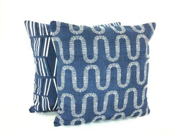 Decorative Navy Throw Pillow Covers Textured Pillow Navy Blue White Couch Sofa Pillow Cushion Modern Designer Slub Canvas Various Sizes