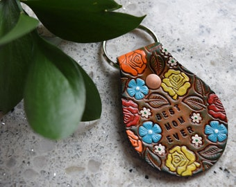 Mother's Day Gift, Mom Gift, Mother Gift, Women's Leather Keychain, BEST MOM EVER, Gift for mom, Gift for her, Floral Pattern