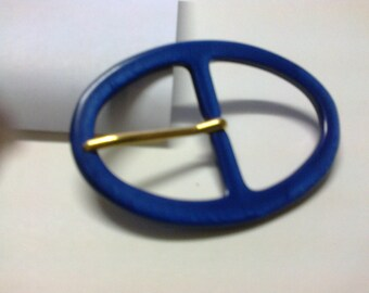 Oval buckle passage 3.7 cm plastic Royal Blue * BO73 *.