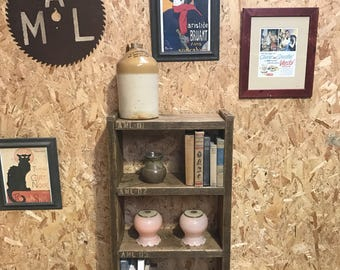 Small 4 shelf Industrial up - cycled shelveing unit
