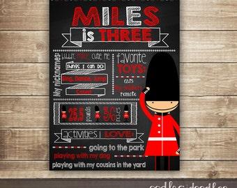Chalkboard Poster, London Theme, Boy's Birthday Poster, Personalized, Birthday Sign, Birthday Photo Prop, Printable File or Printed