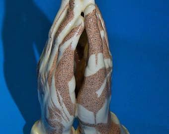 "3 3/4"" Mount St. Helen's Ash Praying Hands Statue Figurine Cougar Ceramics Washington State Signed"
