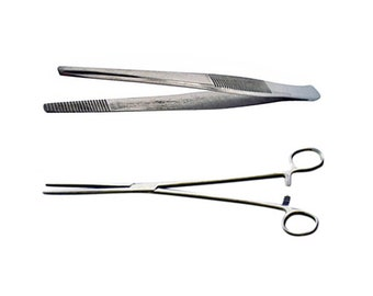 12 Inch Long Stainless Steel Tweezers With Serrated Jaws and 12 Inch Stainless Steel Self-Locking Straight Hemostat Forceps