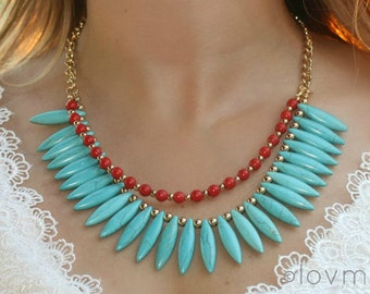 Turquoise spike necklace with coral red beads