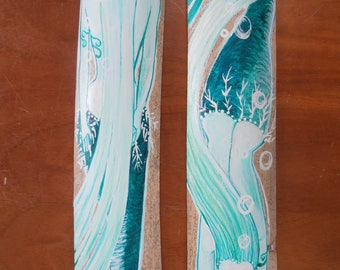 Pair of Sea Foam and Emerald Green Fantasy Mermaids- Original Mermaid art for walls
