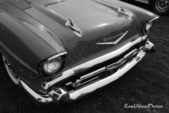 1957 Chevy Classic Car Photography 8 X 10 Matted Photo Black