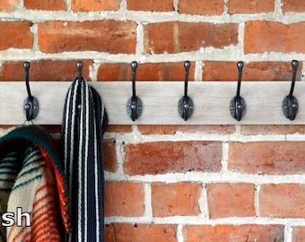 Solid Oak coat rack with cast iron hooks