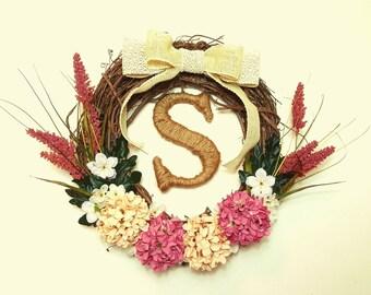 Modern Woodland Wreath, Grapevine Wreath, Monogrammed Wreath, Personalized Wreath, Front Door Wreath, Year Round Wreath, Rustic Wreath