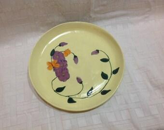 "10"" plate, platter, hand painted, stoneware"