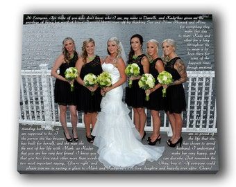 Maid of Honor Speech Canvas as After Wedding Gift/ Best Christmas Gifts/ BFF Custom Wedding Picture To Canvas/ Word Art/ Bridesmaids gift