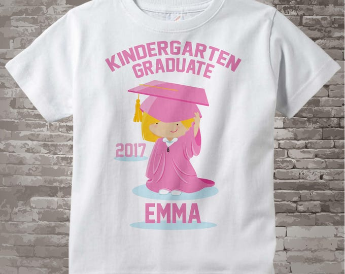 Kindergarten Graduate Shirt, Kindergarten Graduation Shirt, Personalized for your little girl with year, name and color 05122014e