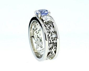 Cornflower blue sapphire and 0.50ct diamond filigree engagement ring, wide filigree band, white gold, blue engagement, unique, sapphire ring