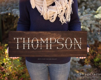 Personalized Wood Sign with Last Name, Modern Family Name Sign, Wedding Gift, Custom Wood Sign, Personalized Engagement Gift (GP013)