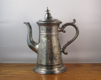 Antique Coffee Pot Tea JH Whitlock From Troy New York 1800s Silver Plate