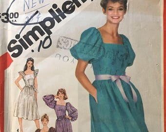 Simplicity 5872 Evening/Mid Calf Dress Vintage Sewing Pattern (1980s) Misses Size 12