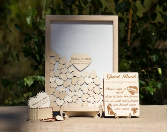 Wedding Guest Book,Guestbook for wedding,Wedding|gift for|the|couple,Drop box guest book,Wooden Hearts,Wedding Sign Rustic