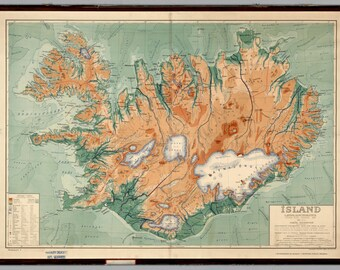 Iceland Map Poster (1928) | Wall decor | Vintage | Island