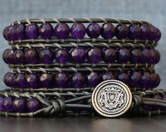 READY TO SHIP wrap bracelet- purple jade on pewter leather - deep amethyst - bohemian jewelry