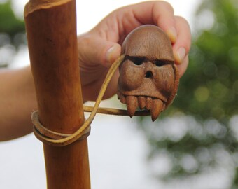 Carved Wood Cypress and Mahogany Secret Stash Walking Stick