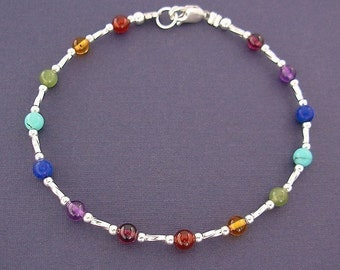 Rainbow Anklet - Gemstone Ankle Bracelet in Sterling Silver - 9, 10, 11 inch, Small to Plussize, Rainbow Jewelry