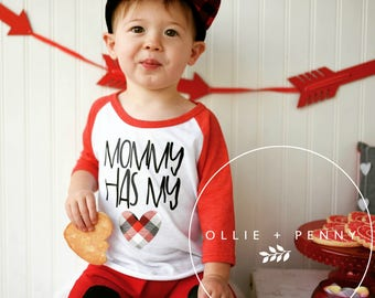Mommy Has My Heart / boys valentine outfit - valentine shirt - kids valentine shirts - valentines day shirt - girls valentine outfit