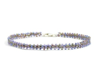 Chain Ankle Bracelet - Seed Bead Anklet - Purple Foot Jewelry - Beaded Summer Anklet - Beach Jewelry